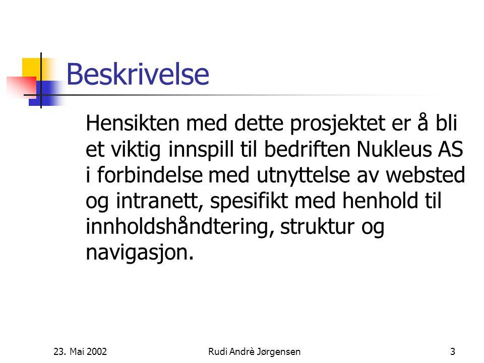 23. Mai 2002Rudi Andrè Jørgensen2 Nukleus AS Konsulent selskap Stiftet i år 2000 i Trondheim Aksjeselskap eid av 4 likeverdige partnere Bedriften har