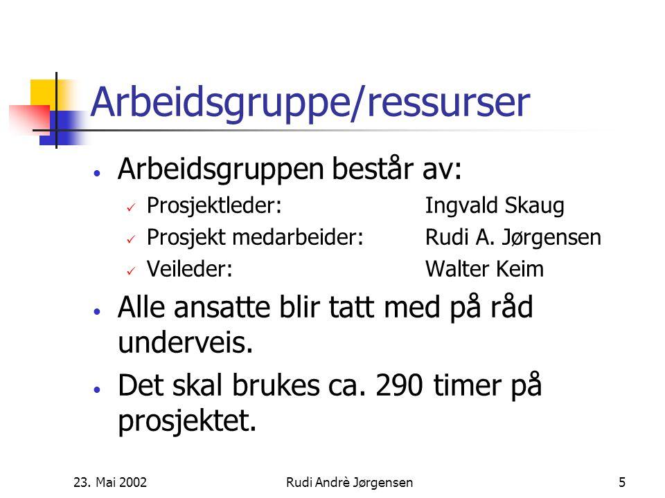23. Mai 2002Rudi Andrè Jørgensen4 Prosjektmål Deadlines: Brief:20.