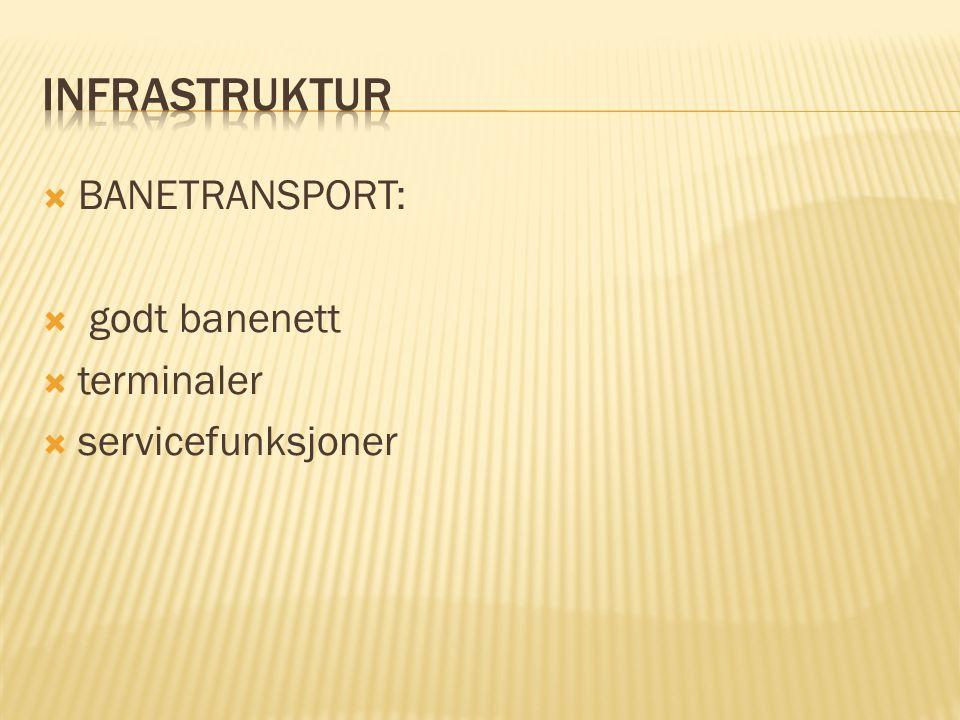 BANETRANSPORT:  godt banenett  terminaler  servicefunksjoner