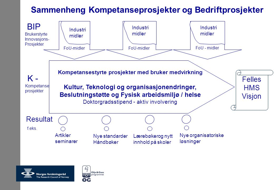 Kompetansestyrte prosjekter med bruker medvirkning Kultur, Teknologi og organisasjonendringer, Beslutningstøtte og Fysisk arbeidsmiljø / helse Doktorgradsstipend - aktiv involvering BIP Brukerstyrte Innovasjons- Prosjekter FoU-midler K - Kompetanse prosjekter Resultat f.eks.