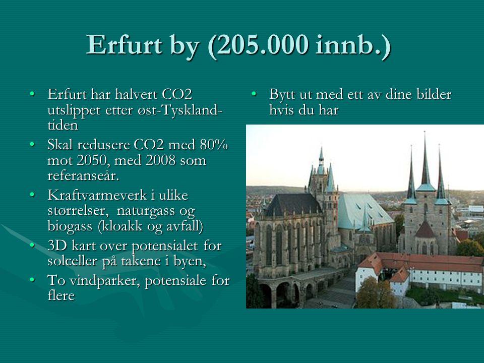 Erfurt by (205.000 innb.) Erfurt har halvert CO2 utslippet etter øst-Tyskland- tidenErfurt har halvert CO2 utslippet etter øst-Tyskland- tiden Skal redusere CO2 med 80% mot 2050, med 2008 som referanseår.Skal redusere CO2 med 80% mot 2050, med 2008 som referanseår.