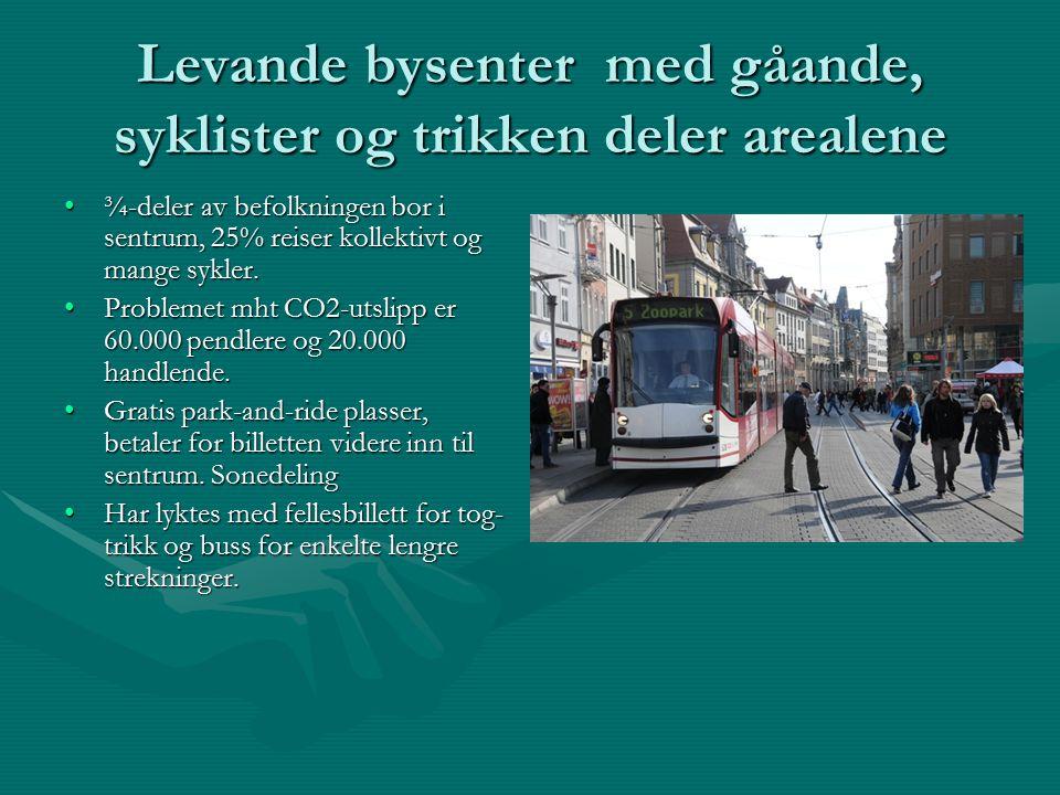 Levande bysenter med gåande, syklister og trikken deler arealene ¾-deler av befolkningen bor i sentrum, 25% reiser kollektivt og mange sykler.¾-deler av befolkningen bor i sentrum, 25% reiser kollektivt og mange sykler.