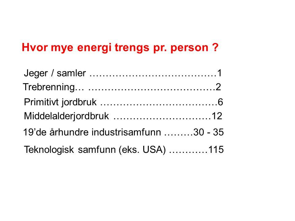 Hvor mye energi trengs pr. person ? Jeger / samler …………………………………1 Trebrenning… …………………………………2 Primitivt jordbruk ………………………………6 Middelalderjordbruk ………