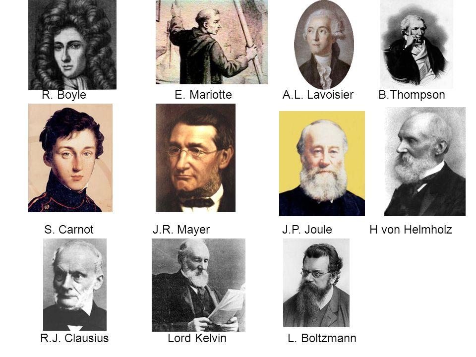 R. Boyle E. Mariotte A.L. Lavoisier B.Thompson S. Carnot J.R. MayerJ.P. Joule H von Helmholz R.J. ClausiusL. BoltzmannLord Kelvin