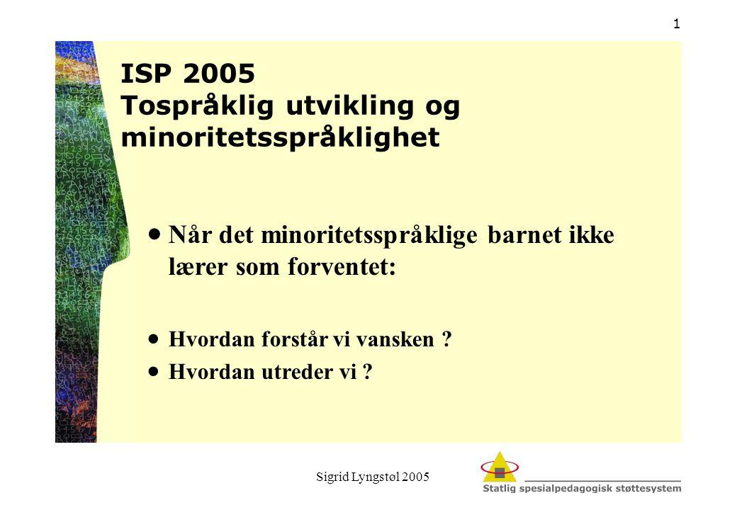 Sigrid Lyngstøl 2005 1  Når det minoritetsspråklige barnet ikke lærer som forventet:  Hvordan forstår vi vansken ?  Hvordan utreder vi ? ISP 2005 T