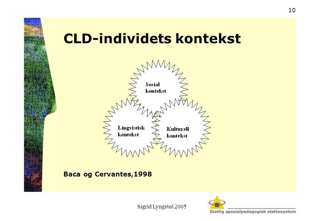 Sigrid Lyngstøl 2005 10 CLD-individets kontekst Baca og Cervantes,1998