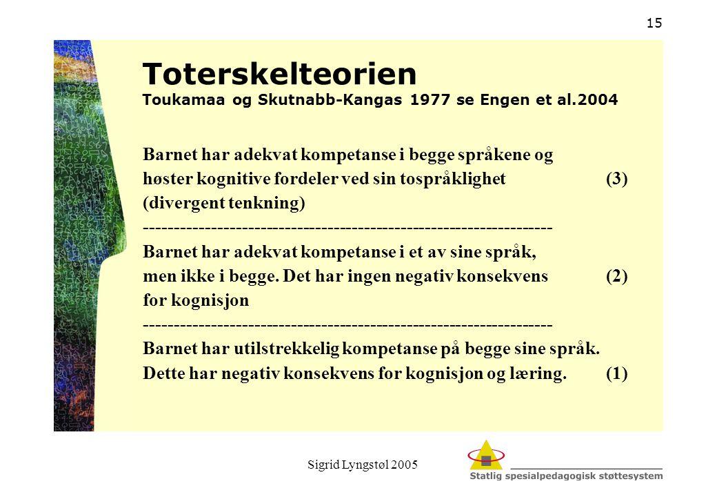 Sigrid Lyngstøl 2005 15 Toterskelteorien Toukamaa og Skutnabb-Kangas 1977 se Engen et al.2004 Barnet har adekvat kompetanse i begge språkene og høster