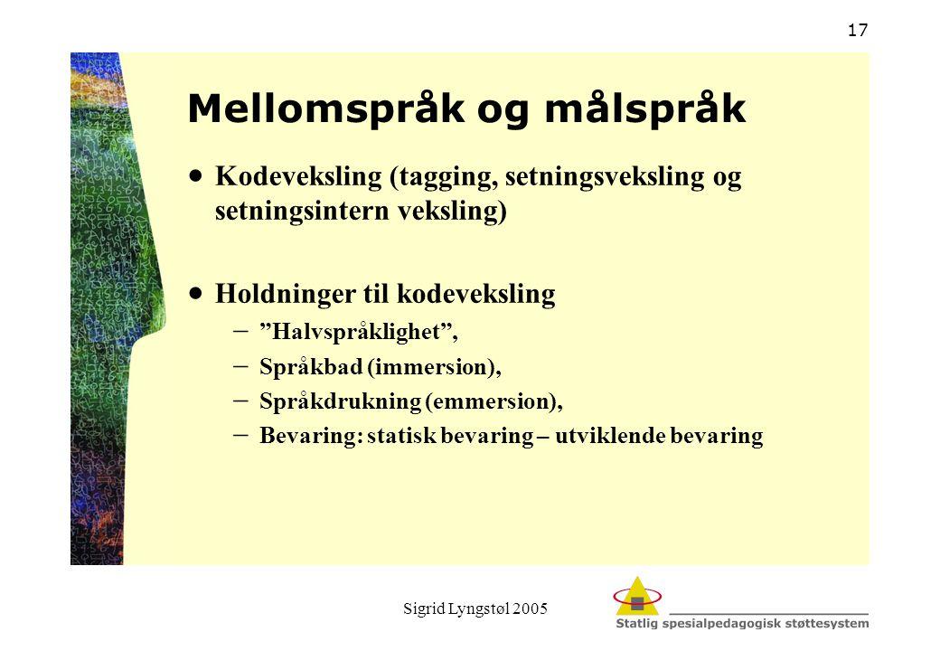 Sigrid Lyngstøl 2005 17 Mellomspråk og målspråk  Kodeveksling (tagging, setningsveksling og setningsintern veksling)  Holdninger til kodeveksling 