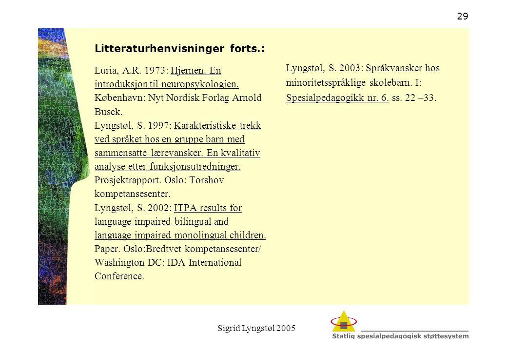 Sigrid Lyngstøl 2005 29 Litteraturhenvisninger forts.: Luria, A.R. 1973: Hjernen. En introduksjon til neuropsykologien. København: Nyt Nordisk Forlag