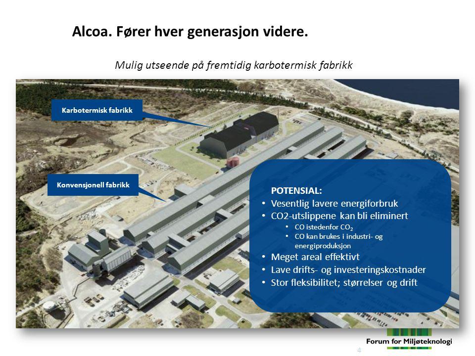 Mulig utseende på fremtidig karbotermisk fabrikk 4 Konvensjonell fabrikk Karbotermisk fabrikk Alcoa.