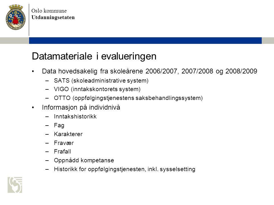 Oslo kommune Utdanningsetaten Datamateriale i evalueringen Data hovedsakelig fra skoleårene 2006/2007, 2007/2008 og 2008/2009 –SATS (skoleadministrative system) –VIGO (inntakskontorets system) –OTTO (oppfølgingstjenestens saksbehandlingssystem) Informasjon på individnivå –Inntakshistorikk –Fag –Karakterer –Fravær –Frafall –Oppnådd kompetanse –Historikk for oppfølgingstjenesten, inkl.
