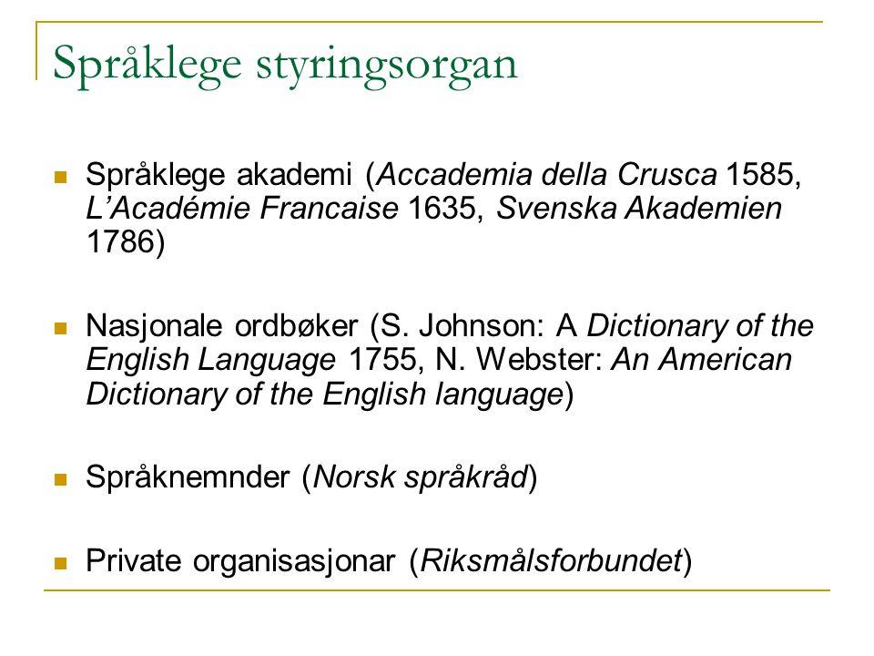 Språklege styringsorgan Språklege akademi (Accademia della Crusca 1585, L'Académie Francaise 1635, Svenska Akademien 1786) Nasjonale ordbøker (S.
