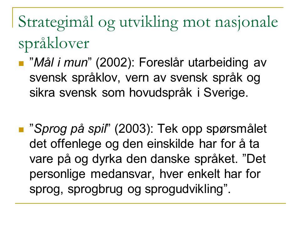 Strategimål og utvikling mot nasjonale språklover Mål i mun (2002): Foreslår utarbeiding av svensk språklov, vern av svensk språk og sikra svensk som hovudspråk i Sverige.