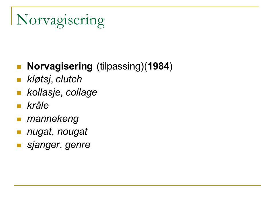 Norvagisering Norvagisering (tilpassing)(1984) kløtsj, clutch kollasje, collage kråle mannekeng nugat, nougat sjanger, genre