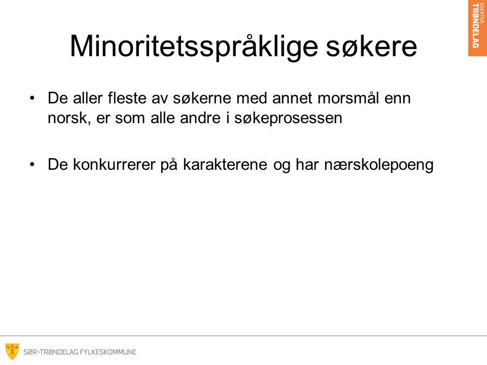 Minoritetsspråklige søkere De aller fleste av søkerne med annet morsmål enn norsk, er som alle andre i søkeprosessen De konkurrerer på karakterene og