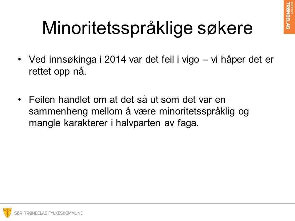 Minoritetsspråklige søkere Ved innsøkinga i 2014 var det feil i vigo – vi håper det er rettet opp nå. Feilen handlet om at det så ut som det var en sa