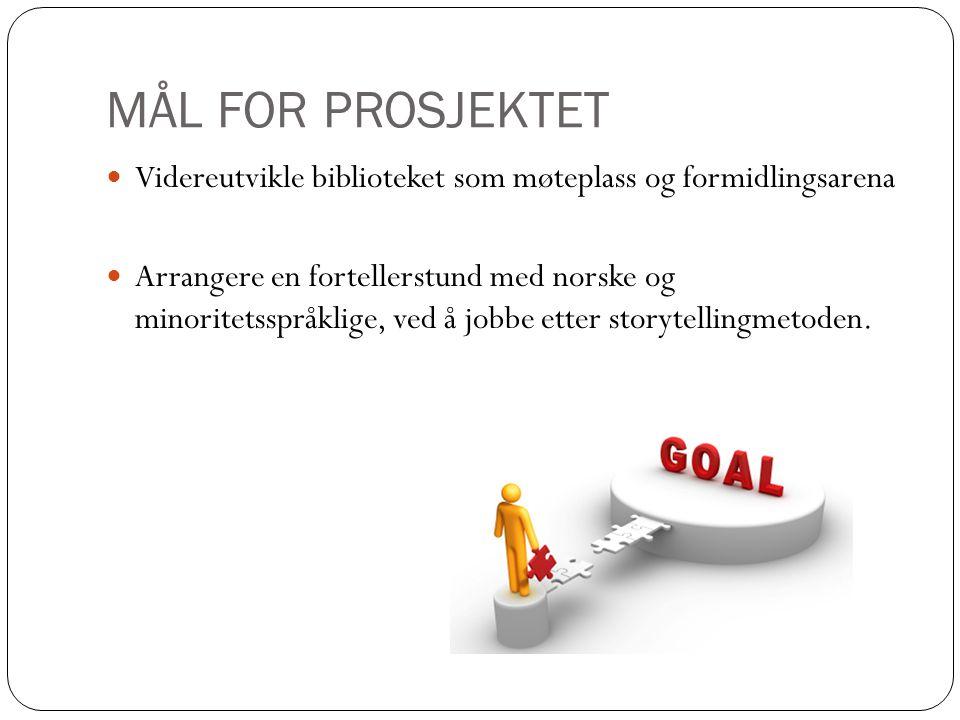 MÅL FOR PROSJEKTET Videreutvikle biblioteket som møteplass og formidlingsarena Arrangere en fortellerstund med norske og minoritetsspråklige, ved å jobbe etter storytellingmetoden.