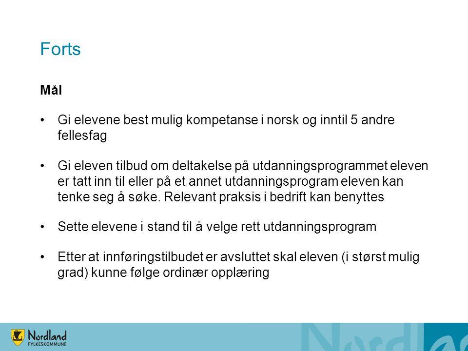 Forts Mål Gi elevene best mulig kompetanse i norsk og inntil 5 andre fellesfag Gi eleven tilbud om deltakelse på utdanningsprogrammet eleven er tatt inn til eller på et annet utdanningsprogram eleven kan tenke seg å søke.