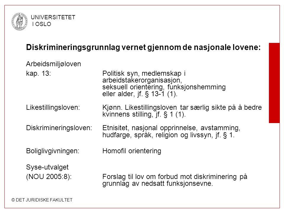 © DET JURIDISKE FAKULTET UNIVERSITETET I OSLO Diskrimineringsgrunnlag vernet gjennom de nasjonale lovene: Arbeidsmiljøloven kap.