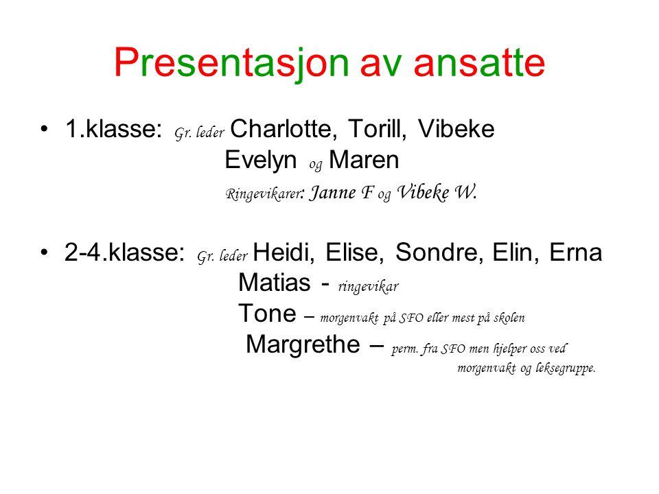 Presentasjon av ansatte 1.klasse: Gr. leder Charlotte, Torill, Vibeke Evelyn og Maren Ringevikarer : Janne F og Vibeke W. 2-4.klasse: Gr. leder Heidi,