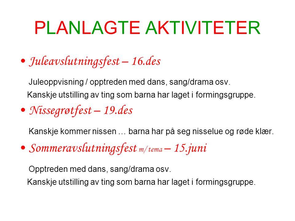 PLANLAGTE AKTIVITETER Juleavslutningsfest – 16.des Juleoppvisning / opptreden med dans, sang/drama osv. Kanskje utstilling av ting som barna har laget
