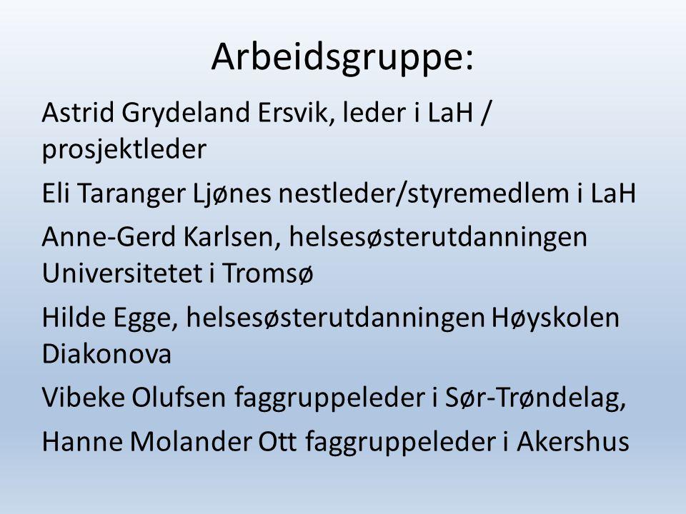 Arbeidsgruppe: Astrid Grydeland Ersvik, leder i LaH / prosjektleder Eli Taranger Ljønes nestleder/styremedlem i LaH Anne-Gerd Karlsen, helsesøsterutda