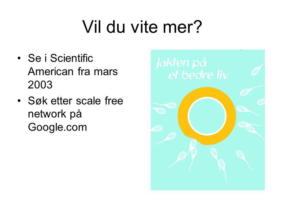 Vil du vite mer? Se i Scientific American fra mars 2003 Søk etter scale free network på Google.com