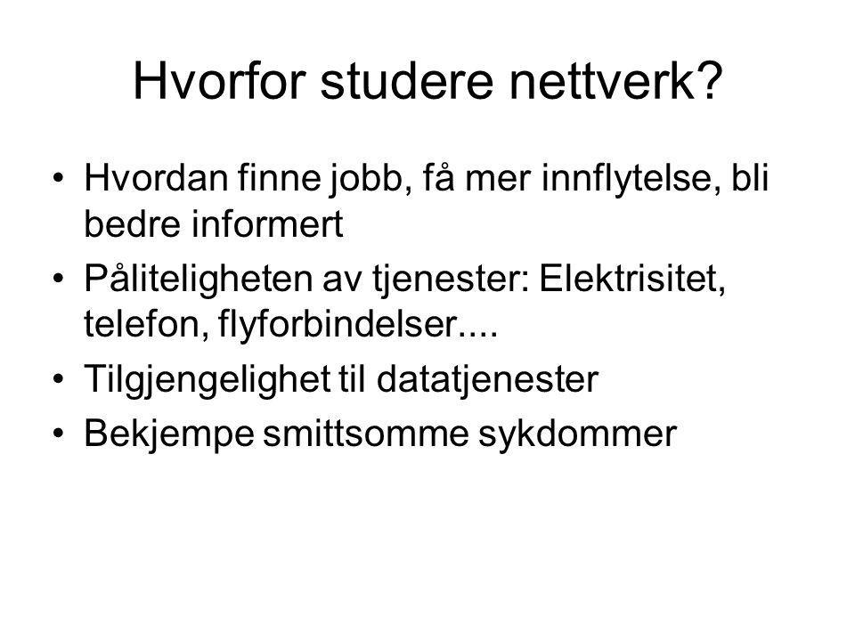 Hvorfor studere nettverk? Hvordan finne jobb, få mer innflytelse, bli bedre informert Påliteligheten av tjenester: Elektrisitet, telefon, flyforbindel