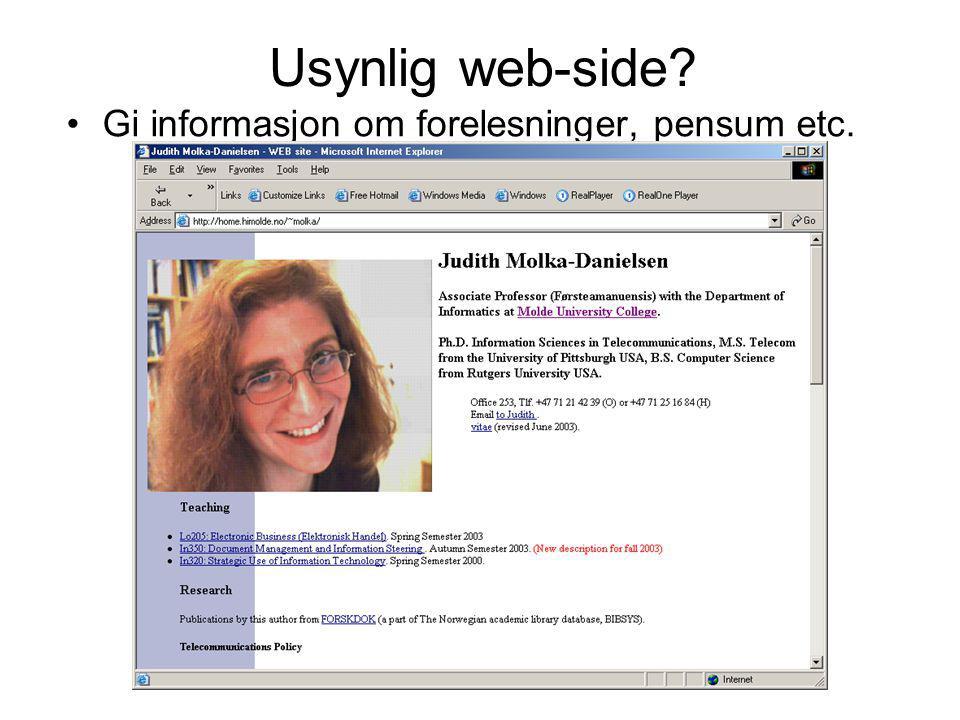 Usynlig web-side? Gi informasjon om forelesninger, pensum etc.