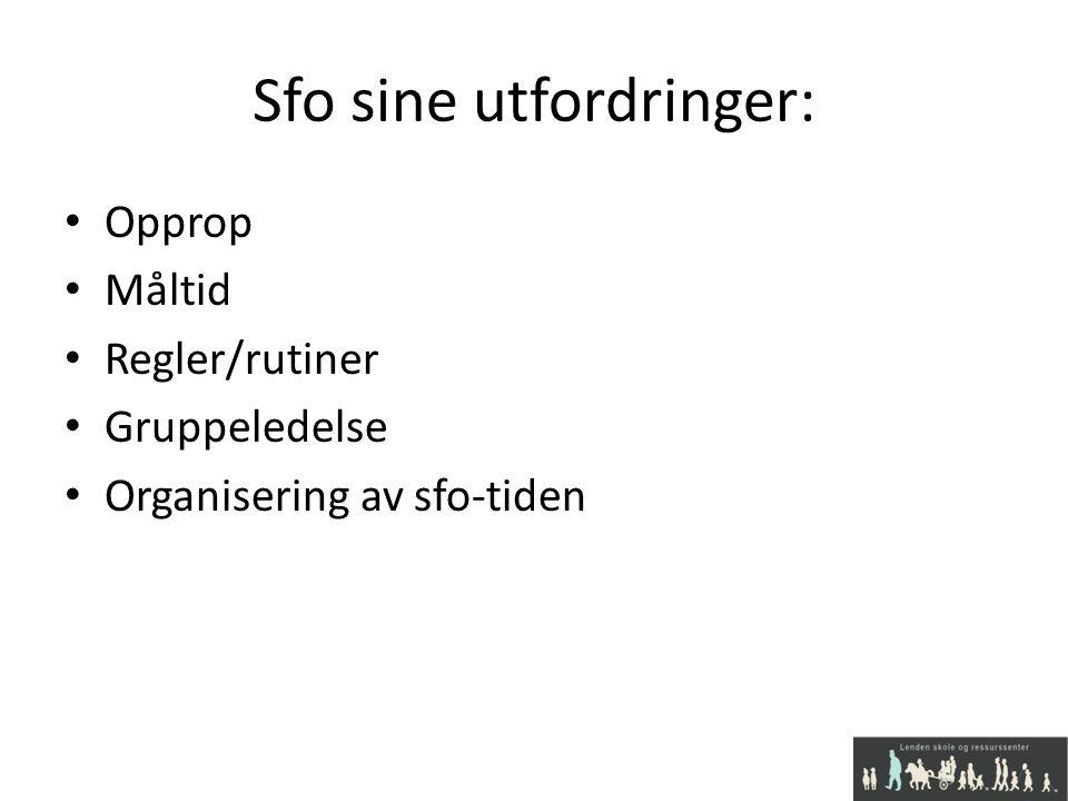Sfo sine utfordringer: Opprop Måltid Regler/rutiner Gruppeledelse Organisering av sfo-tiden