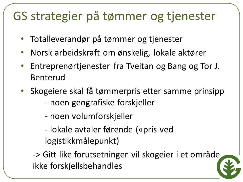 GS strategier på tømmer og tjenester Totalleverandør på tømmer og tjenester Norsk arbeidskraft om ønskelig, lokale aktører Entreprenørtjenester fra Tv