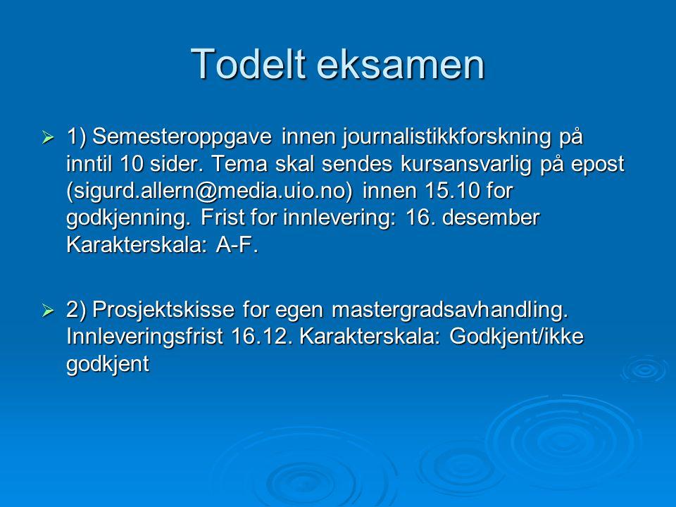 Litteraturliste (eksempel)  Bjørklund, Tor (1991).