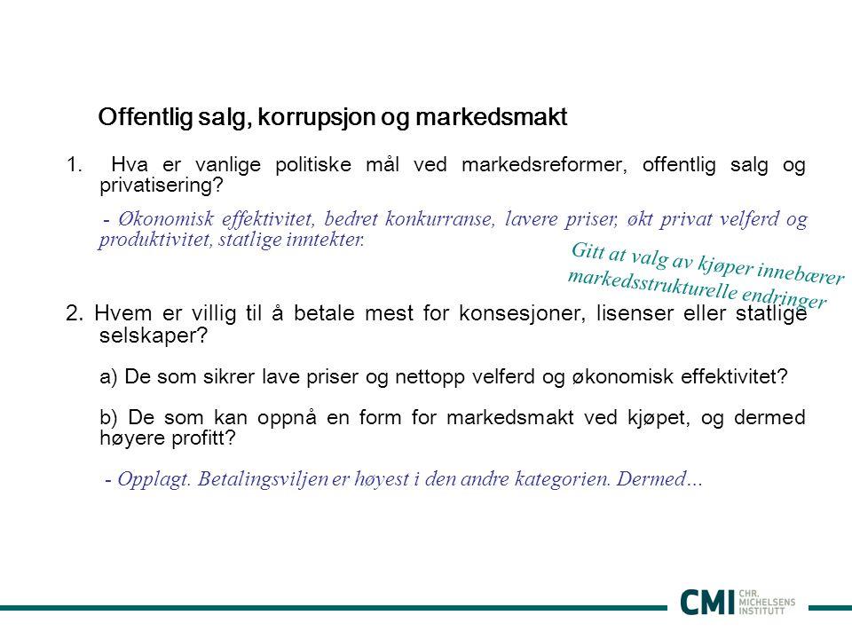 Offentlig salg, korrupsjon og markedsmakt 1.
