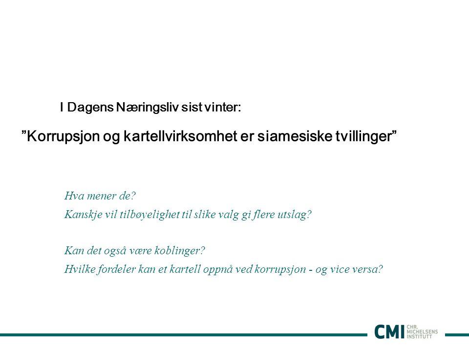 Korrupsjon og kartellvirksomhet er siamesiske tvillinger I Dagens Næringsliv sist vinter: Hva mener de.