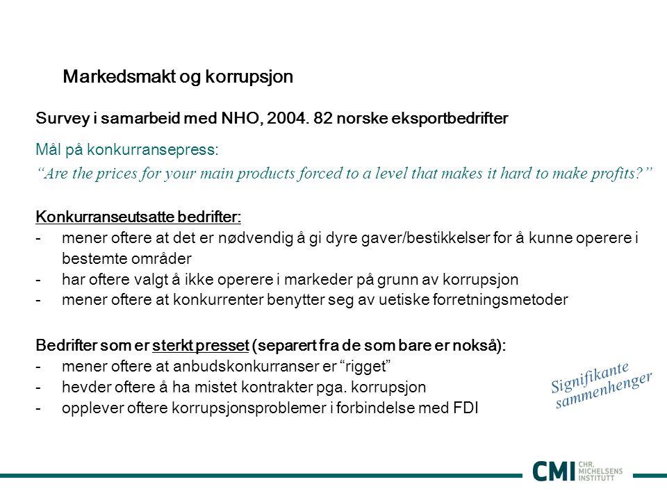 Markedsmakt og korrupsjon Survey i samarbeid med NHO, 2004.