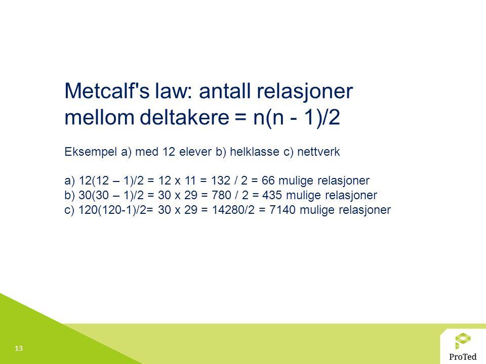 13 Metcalf s law: antall relasjoner mellom deltakere = n(n - 1)/2 Eksempel a) med 12 elever b) helklasse c) nettverk a) 12(12 – 1)/2 = 12 x 11 = 132 / 2 = 66 mulige relasjoner b) 30(30 – 1)/2 = 30 x 29 = 780 / 2 = 435 mulige relasjoner c) 120(120-1)/2= 30 x 29 = 14280/2 = 7140 mulige relasjoner