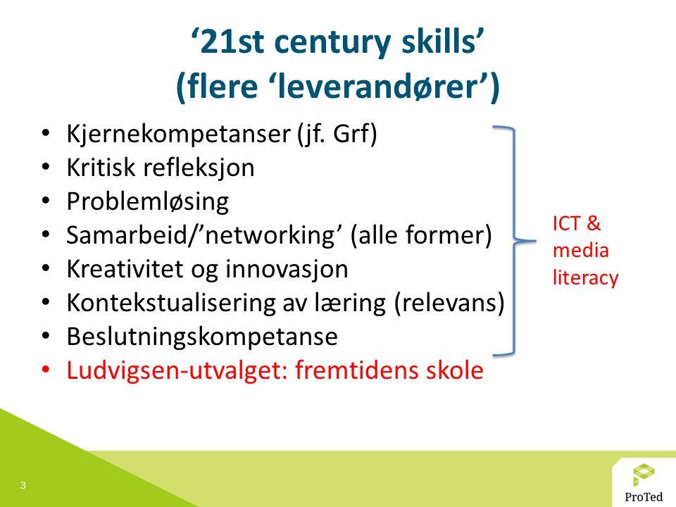 3 '21st century skills' (flere 'leverandører') Kjernekompetanser (jf.