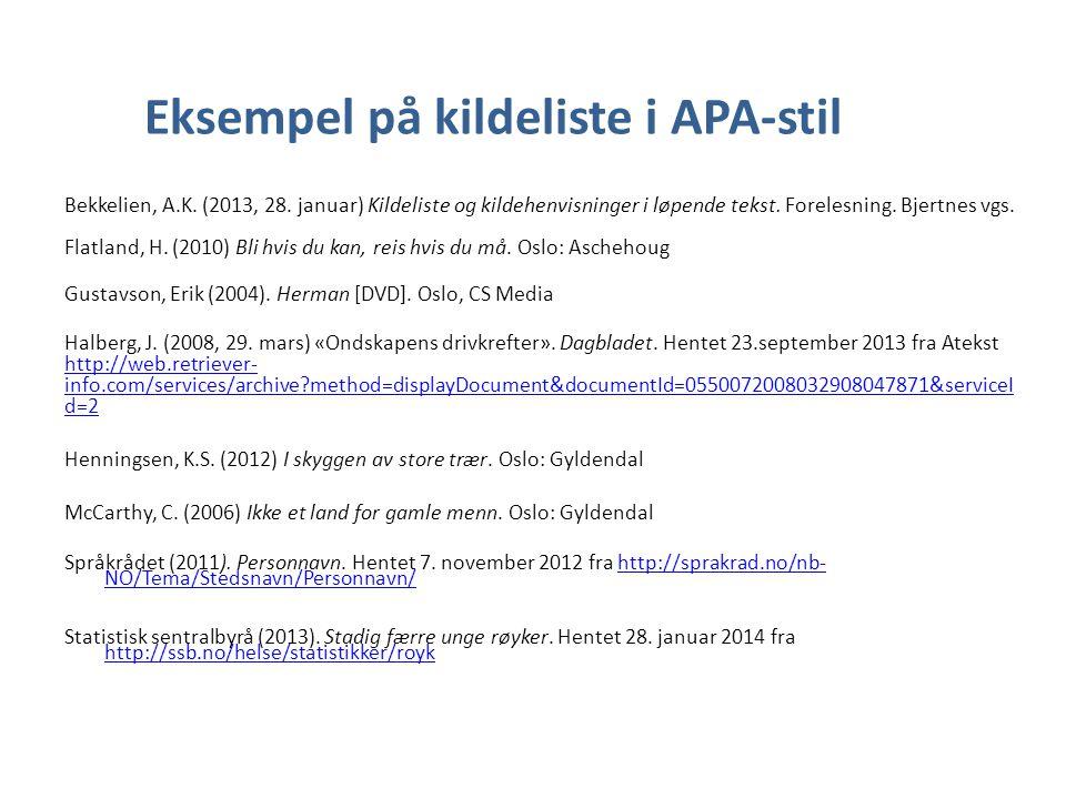 Eksempel på kildeliste i APA-stil Bekkelien, A.K. (2013, 28. januar) Kildeliste og kildehenvisninger i løpende tekst. Forelesning. Bjertnes vgs. Flatl