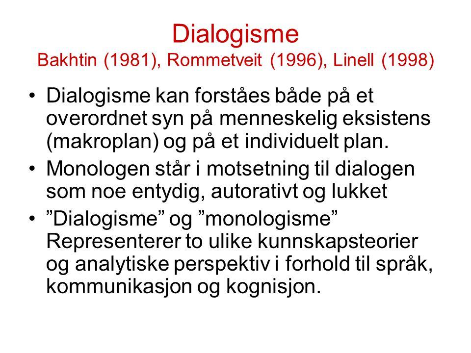 Dialogisme Bakhtin (1981), Rommetveit (1996), Linell (1998) Dialogisme kan forståes både på et overordnet syn på menneskelig eksistens (makroplan) og
