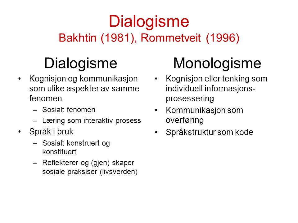 Dialogisme Bakhtin (1981), Rommetveit (1996) Dialogisme Kognisjon og kommunikasjon som ulike aspekter av samme fenomen. –Sosialt fenomen –Læring som i