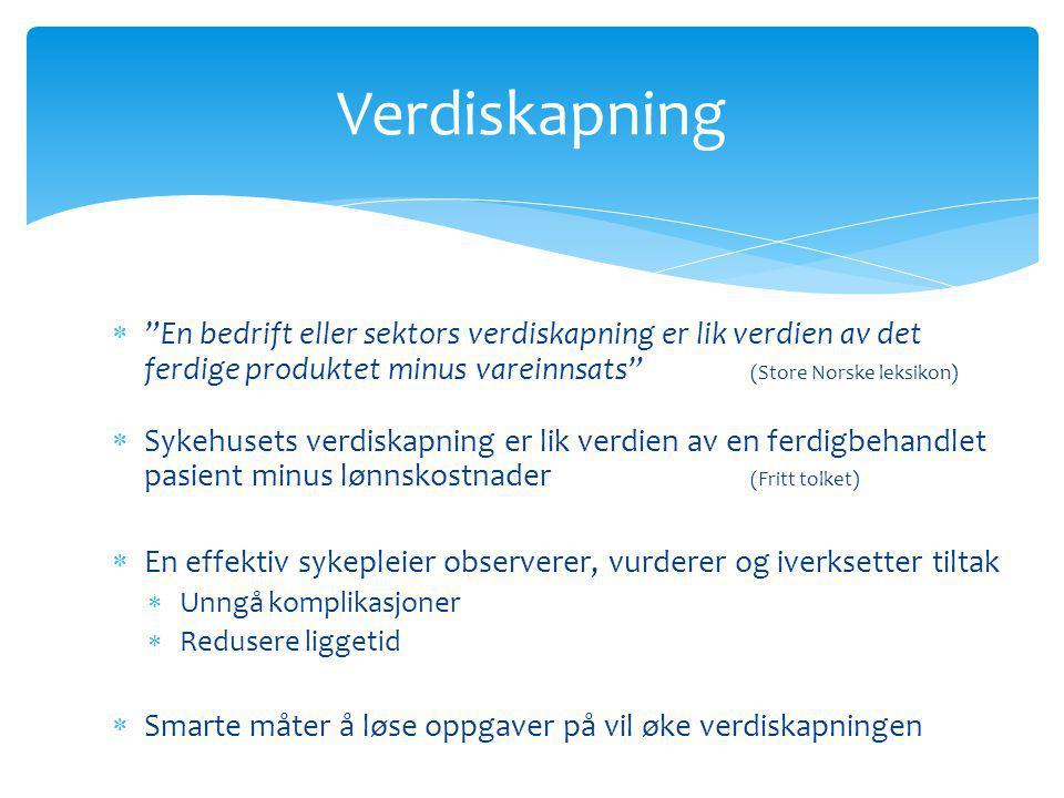 """ """"En bedrift eller sektors verdiskapning er lik verdien av det ferdige produktet minus vareinnsats"""" (Store Norske leksikon)  Sykehusets verdiskapnin"""