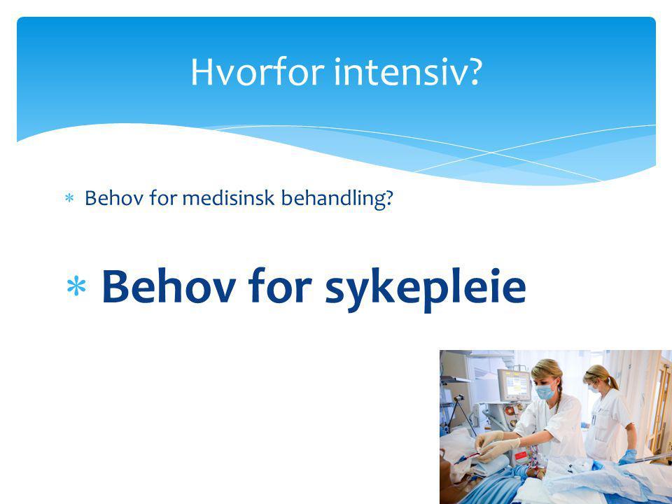  Behov for medisinsk behandling?  Behov for sykepleie Hvorfor intensiv?