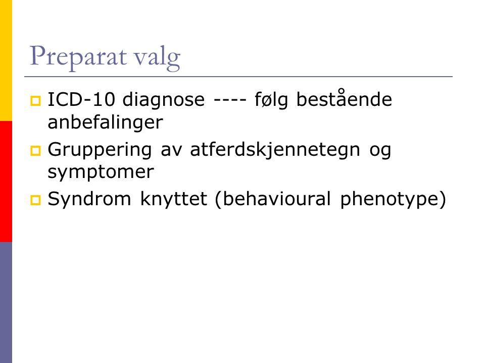 Preparat valg  ICD-10 diagnose ---- følg bestående anbefalinger  Gruppering av atferdskjennetegn og symptomer  Syndrom knyttet (behavioural phenoty