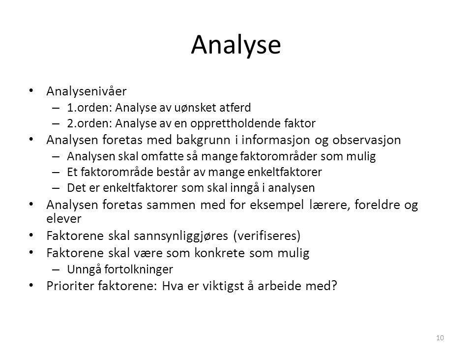 Analyse Analysenivåer – 1.orden: Analyse av uønsket atferd – 2.orden: Analyse av en opprettholdende faktor Analysen foretas med bakgrunn i informasjon