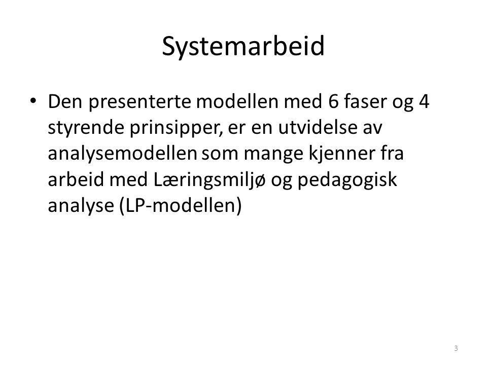 Systemarbeid Den presenterte modellen med 6 faser og 4 styrende prinsipper, er en utvidelse av analysemodellen som mange kjenner fra arbeid med Læringsmiljø og pedagogisk analyse (LP-modellen) 3