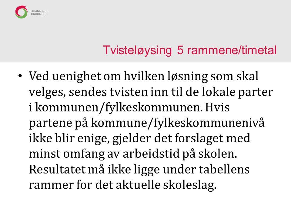 Tvisteløysing 5 rammene/timetal Ved uenighet om hvilken løsning som skal velges, sendes tvisten inn til de lokale parter i kommunen/fylkeskommunen.