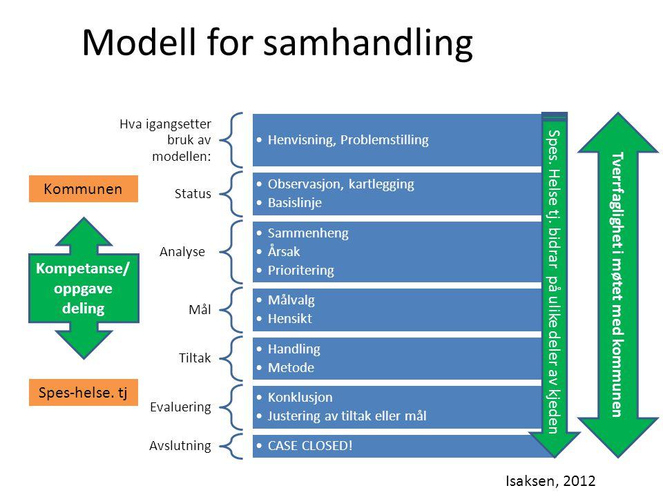 Hva igangsetter bruk av modellen: Henvisning, Problemstilling Status Observasjon, kartlegging Basislinje Analyse Sammenheng Årsak Prioritering Mål Mål