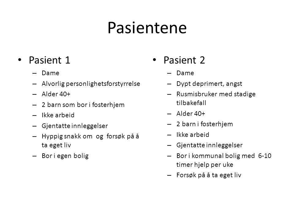 Pasientene Pasient 1 – Dame – Alvorlig personlighetsforstyrrelse – Alder 40+ – 2 barn som bor i fosterhjem – Ikke arbeid – Gjentatte innleggelser – Hy