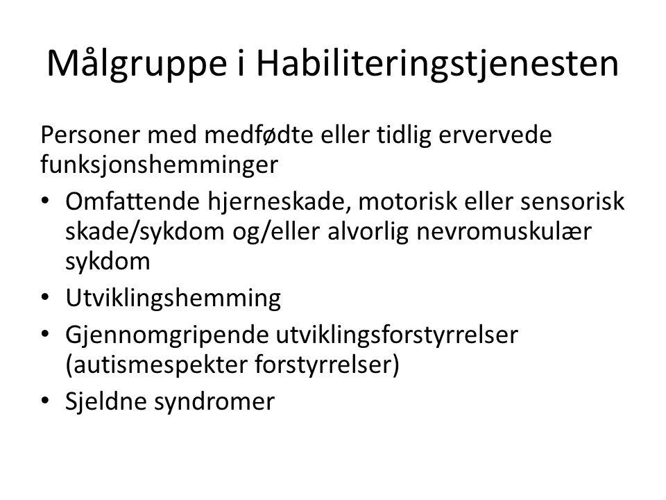 Målgruppe i Habiliteringstjenesten Personer med medfødte eller tidlig ervervede funksjonshemminger Omfattende hjerneskade, motorisk eller sensorisk sk