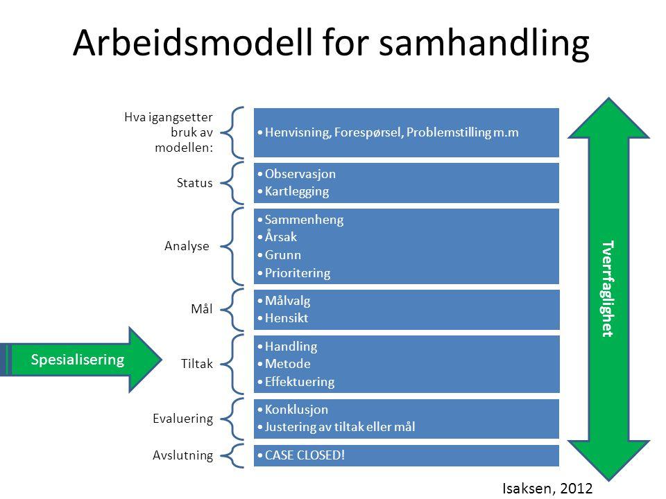 Hva igangsetter bruk av modellen: Henvisning, Forespørsel, Problemstilling m.m Status Observasjon Kartlegging Analyse Sammenheng Årsak Grunn Prioriter